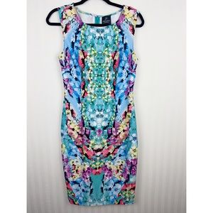 Adrianna Papell Floral Kaleidoscope Dress 8 M
